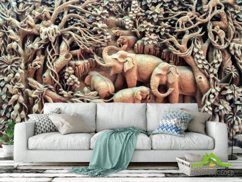 обои 3D барельеф Фотообои деревянные слоны