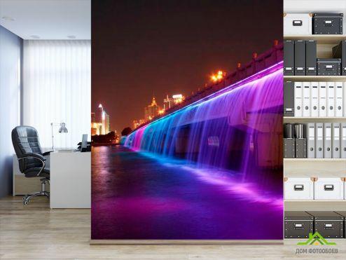 Фиолетовые  Фотообои Ночь мост цветомузыка