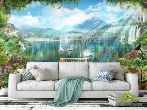 Фрески Фотообои три лебедя на озере