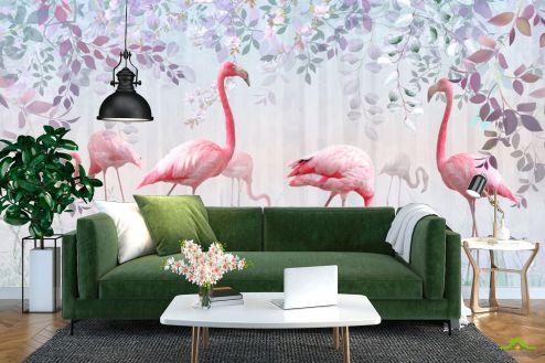 с Фламинго Фотообои Фламинго и зелень купить