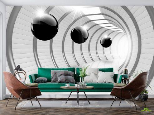 Белые  3д фотообои Тоннель с шарами