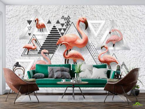 Животные Фотообои Фламинго и геометрия