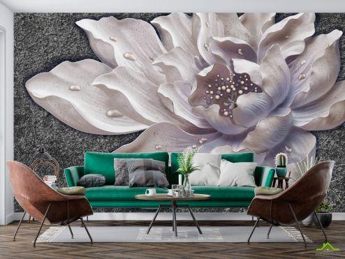 3Д барельеф  Фотообои Керамический цветок барельеф купить