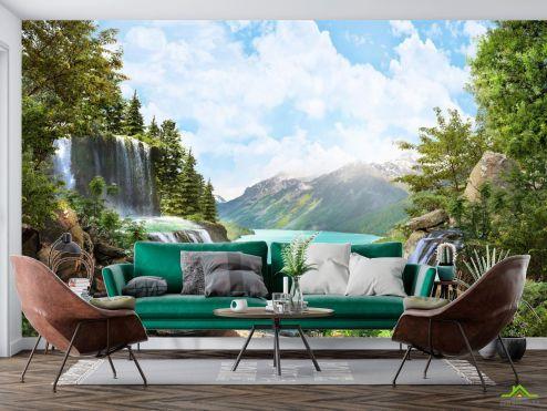 Природа Фотообои водопад над озером в горах