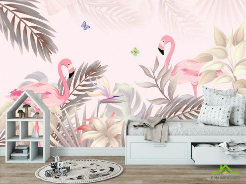 в детскую Фотообои Розовые фламинго купить