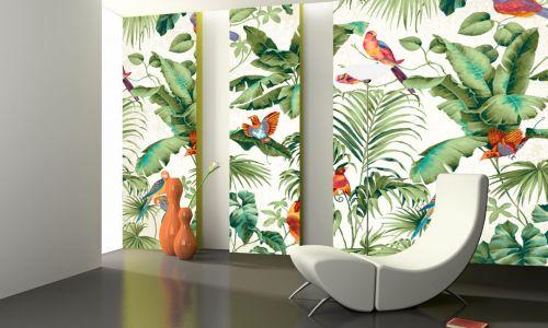 Фотообои в интерьере гостиной с фото - Фотообои Тропические листья