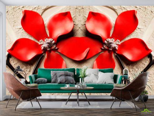 3Д  Фотообои Красные цветы