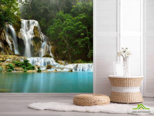 обои Природа Фотообои Водопад и озеро