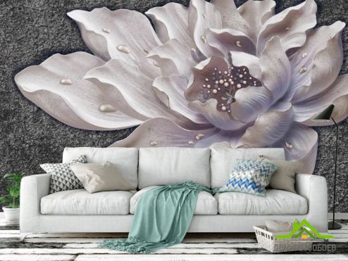 обои 3D барельеф  Фотообои Керамический цветок барельеф