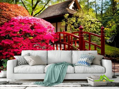 обои Розовые деревья Фотообои Дом, цветы, мост