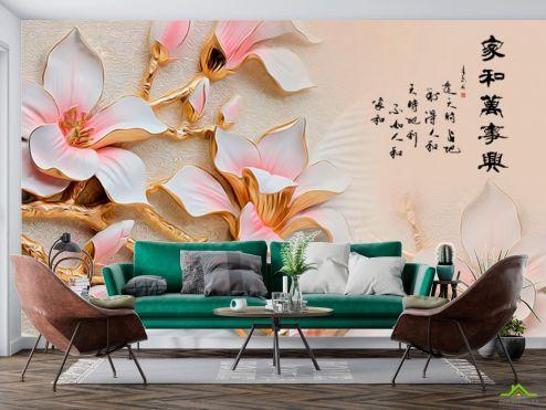3Д  Фотообои Керамические цветы купить