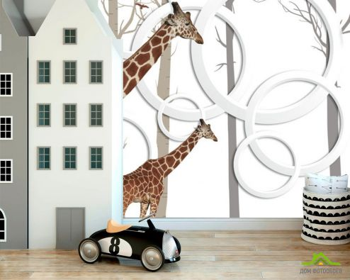 обои в детскую Фотообои Жирафи 3д