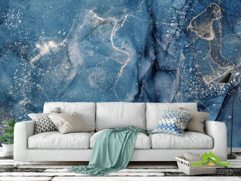 обои Fluid art Фотообои Синий флюид с серебром