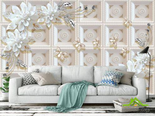 3Д  Фотообои Керамические цветы на фоне золотой стены