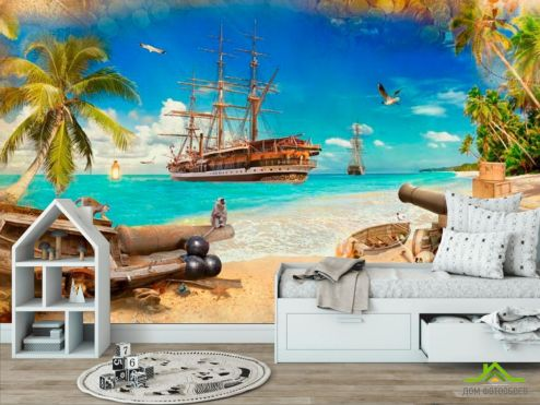 обои Пираты Фотообои Пиратский корабль