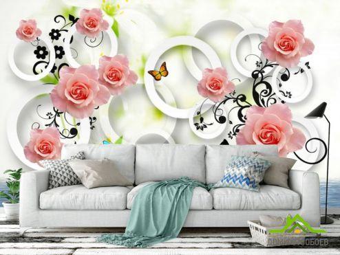 3Д  Фотообои 3д розы