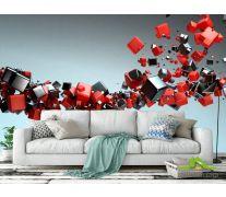3д фотообои Черные и красные кубы