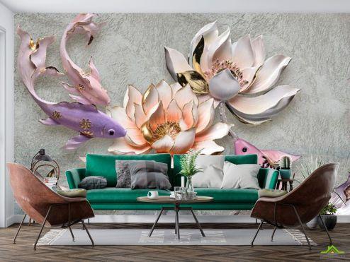 3Д барельеф Фотообои Цветы и рыбки купить