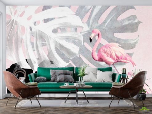 Животные Фотообои Фламинго и Монстера