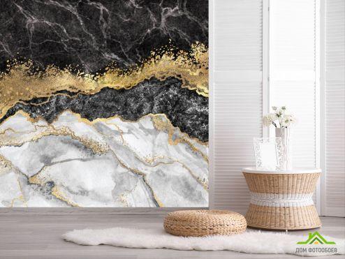 обои Fluid art Фотообои Чёрный флюид с золотом