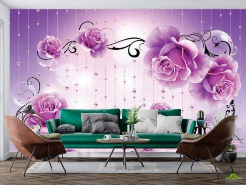 Фиолетовые  Фотообои Фиолетовые 3d цветы
