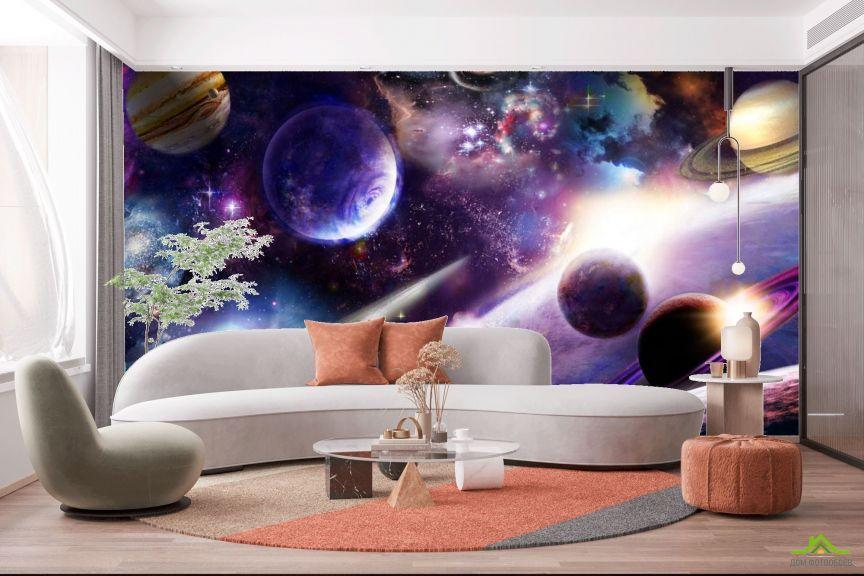 Фотообои яркий космос с планетами