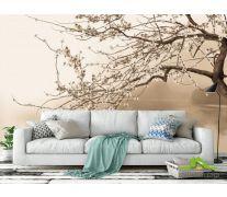 Фотообои на лодке под цветущим деревом