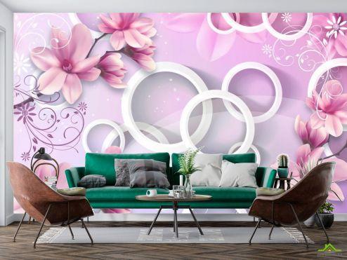 3Д  Фотообои Цветы и круги 3d