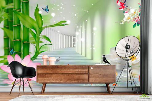 3Д  Фотообои Тонель с лотосами и бамбуком