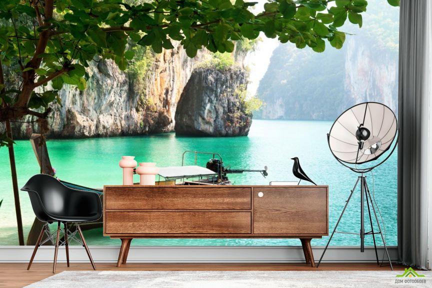 Фотообои лодка в гавани