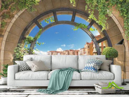 обои Вид из окна Фотообои гондолы за круглым окном