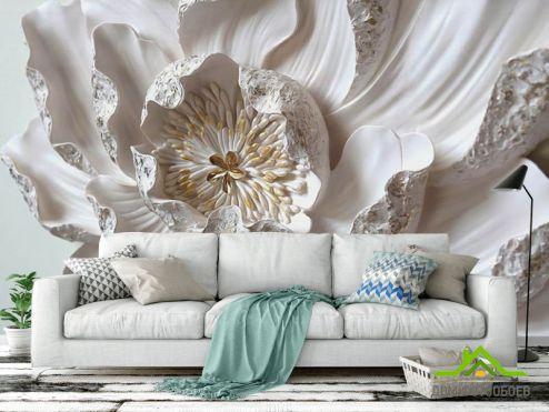 обои 3D барельеф  Фотообои Макро керамический цветок