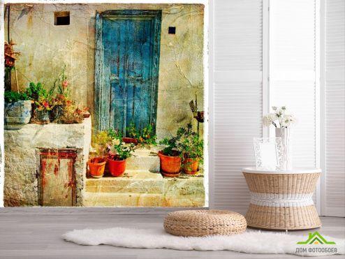 Улицы Фотообои Дверь и цветы