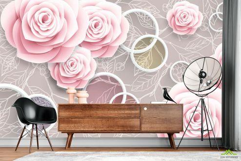 3Д  Фотообои Розовые 3Д розочки