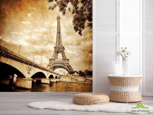обои Винтаж Фотообои Эйфелева башня, Париж