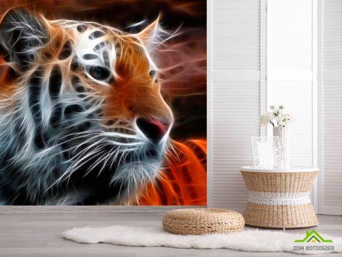 обои Животные Фотообои Огненный тигр