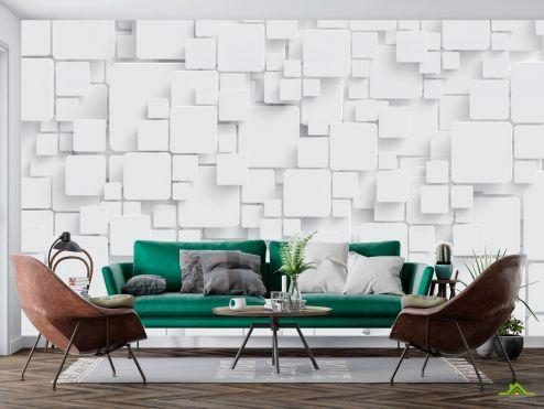 3Д  Фотообои Стена из обьемных прямоугольников