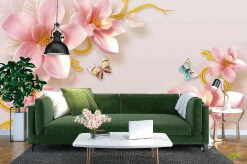 3Д  Фотообои Красивые цветы и бабочки