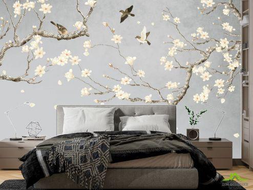 фотошпалери в спальню Фотошпалери гілки магнолії в японському стилі