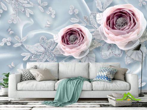 обои цветы 3d Фотообои Тканевые 3д цветы