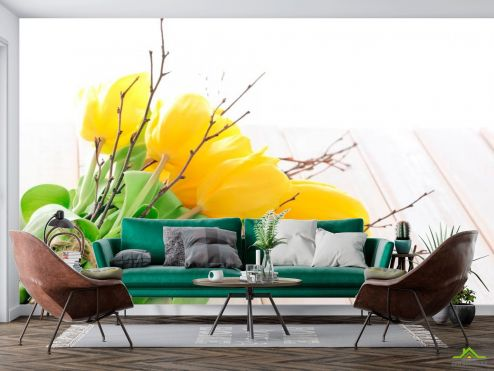 Тюльпаны Фотообои Букет из желтых тюльпанов купить