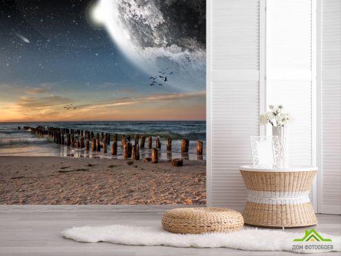 обои Природа Фотообои луна над морем