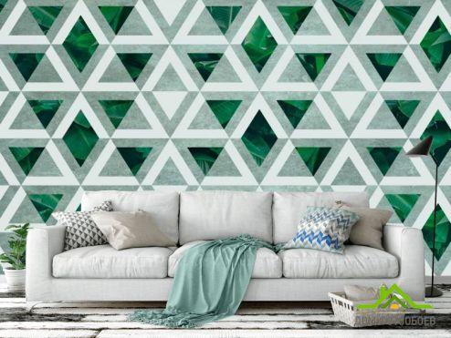 Зеленые  Фотообои Ромбы