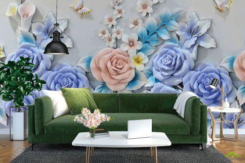 3Д  Фотообои Фиолетовые цветы из керамики