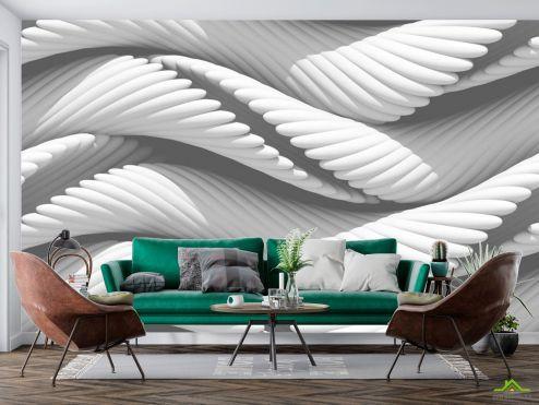 3D объемные Фотообои белые волокна