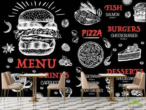 для кафе Фотообои Для бургерной/пиццерии