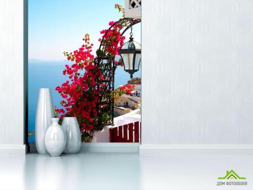Греция Фотообои Цветы на фонаре,  Греция