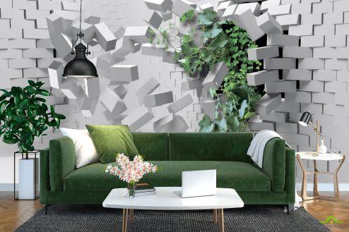 3Д  Фотообои Кирпичная стена с цветком