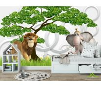 Фотообои Слон и лев 3д