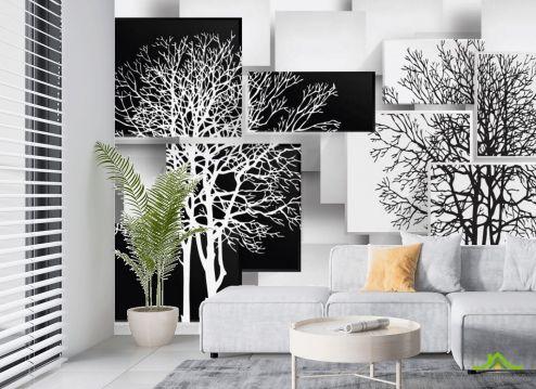 в гостиную Фотообои 3д деревья